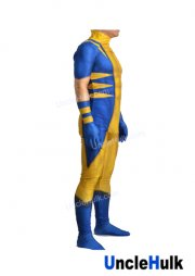 X-men Wolverine Yellow and Blue Spandex Lycra Costume