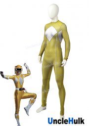 Mighty Morphin Power Rangers Yellow Tiger Ranger Spandex Lycra Zentai Halloween Cosplay Costume | UncleHulk