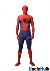 Red and Dark Blue The Amazing Spiderman 2 Zentai Costume include shoes and Rubber Logo (without lenses)
