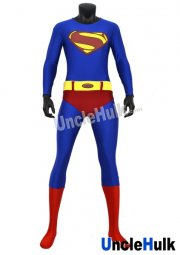 Superman Zentai Costume 3 (nylon)(include cloak and Kungfu shoes soles)