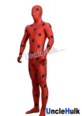 Black Dotted Red Lycra Zentai Suit