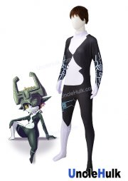 Imp Midna Costume |The Legend of Zelda - Twilight Princess White and Black Spandex Lycra Zentai Suit with Blue Paint Pattern