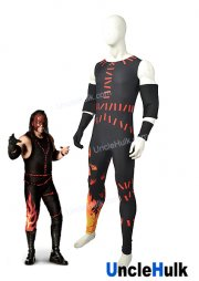 Kane WWE Elite Wrestling Outfit Black and Red Spandex Lycra Cosplay Costume | UncleHullk