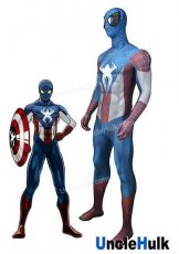 Captain Spiderman Style 2 Lycra Zentai Bodysuit Halloween Cosplay Costume -with lenses - SP162 | UncleHulk