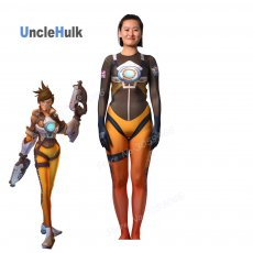 High Quality OW Tracer Lena Oxton Costume Tracer Cosplay Costume Tracer Spandex Suit BodySuit Cosplay Costume
