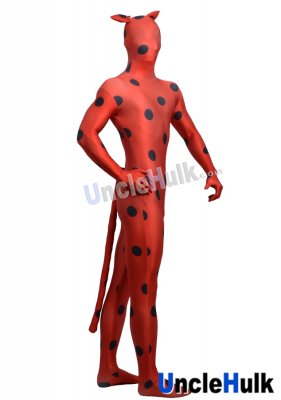 Black Dotted Red Lycra Zentai Suit with Cat Ear and Tail