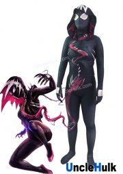 Black Venom Gwen Gwenom GwenSpiderman High Quality Lycra Zentai Bodysuit -include lenses | UncleHulk