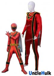 Power Ranger Mystic Force Red MagiRanger Lycra Spandex and Rubberized Fabric Cosplay Costume | UncleHulk