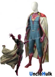 Vision Cosplay Costume Custom Made Avengers: Age of Ultron Cosplay Costume Hero Spandex Vision Suit Halloween - with cloak