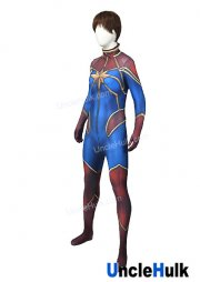 Captain Marvel Ms. Marvel Carol Danvers Red and Blue Spandex Lycra Cosplay Costume | UncleHulk