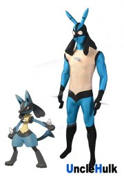 Lucario Costume Game Pokemon Black and Blue Spandex Lycra Zentai Costume