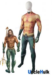 Superior Aquaman Costume Cosplay Golden Bodysuit after getting trident of Movie 2018 - Jason Momoa | UncleHulk