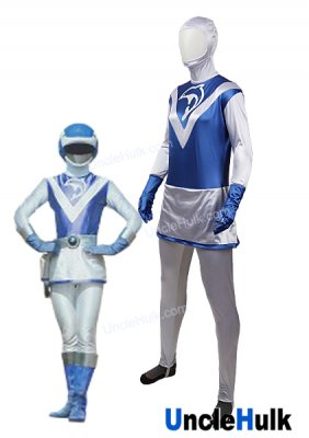 Choujuu Sentai Liveman Blue Dolphin Satin Fabric Cosplay Costume - with gloves | UncleHulk