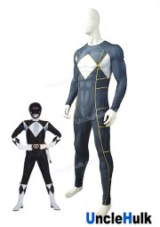 Mighty Morphin Power Rangers Black Mammoth Ranger Spandex Lycra Zentai Halloween Cosplay Costume | UncleHulk
