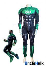 Green Lantern Spandex Zentai Cosplay Costume - silk floss filled muscle shape - style 2 - SH0507 | Unclehulk
