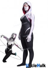 Black and White Spider Gwen Spandex Lycra Costume (with lenses) | UncleHulk