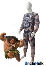 Maui Shapeshifting Demigod in Moana 2016 Movie Lycra Spandex Cosplay Costume and Inner Muscle Suit | UncleHulk