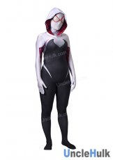 Black and White Spider Gwen Spandex Lycra Costume (with lenses)