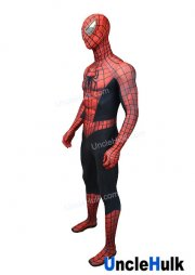 High Quality Spiderman Black and Red Lycra Zentai Bodysuit Halloween Cosplay Costume - SP148 | UncleHulk