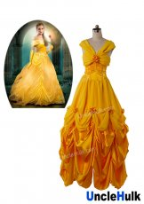 Princess Belle Costume - Beauty and The Beast (2017 New Movie Deluxe Golden Princess Evening Dress Emma Watson)