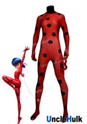 Ladybug Costume | Printed Spandex Lycra Full Bodysuit with Eye Patch