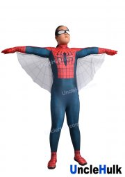 Teenage Spiderman Spandex Lycra Zentai Bodysuit - include wings and shoes soles and eyepatch