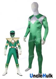 Mighty Morphin Rangers Green Soldier Cosplay Costume - Satin Fabric | UncleHulk