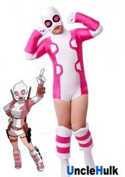 High Quality Gwenpool Gwen Stacy Pink and White Spandex Lycra Costume | UncleHulk