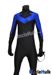 Nightwing Costume Black and Royal Blue Spandex Lycra Catsuit