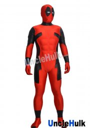 Red Deadpool with Silk Floss Muscle and Rubber Lenses Lycra Zentai Bodysuit
