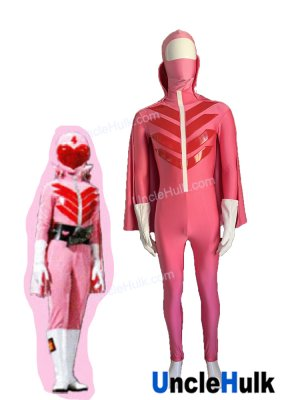 Himitsu Sentai Gorenger Momo Ranger Cosplay Bodysuit - with gloves hood and cloak | UncleHulk