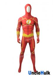 The Flash Reddish Orange Spandex Zentai Lycra Cosplay Costume Halloween Costume -with hood | UncleHulk
