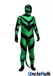 Green and Black Spandex Lycra Zentai Costume with Tail