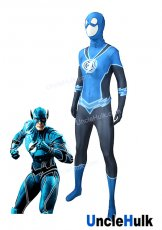 The Blue Lantern Flash The Flash Justice League Zentai Lycra Cosplay Costume -with hood | UncleHulk