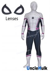 White and Black Spiderman Lycra Spandex Zentai Costume Cosplay Bodysuit - with lenses | UncleHulk