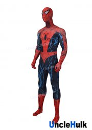 High Quality Spiderman Red and Feather Figure Lycra Zentai Bodysuit Halloween Cosplay Costume -with lenses - SP151 | UncleHulk