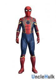 Iron Spiderman (style 2) Spandex Lycra Zentai Bodysuit UncleHulk - inclued lenses and shoes soles