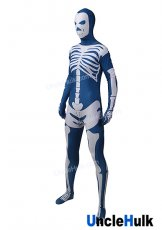 Dark Blue and White Skeleton Lycra Zentai Suit Halloween Costume | UncleHulk
