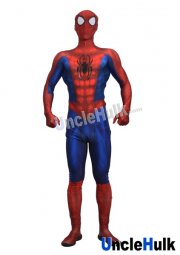 Ultimate Spiderman with Rubber Logo and Lens Lycra Zentai Bodysuit