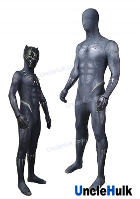 Black Panther 2018 Movie Lycra Spandex Zentai Suit Cosplay Costume - suit and necklace | UncleHulk