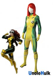 Rogue X-Man Yellow and Green Lycra Spandex Zentai Cosplay Costume | UncleHulk