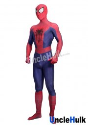 High Quality Classic The Amazing Spiderman 2 Lycra Zentai Bodysuit TASM2 Spider-man Cosplay Costume - with Rubber Spider Logos | UncleHulk