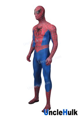 The Amazing Spiderman 2 with Silver Bulgy Line Lycra Zentai Bodysuit Halloween Cosplay Costume - with Resin Lenses | UncleHulk