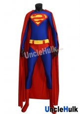 "Reverse ""S"" Superman zentai lycra spandex Bodysuit (include cloak and Kungfu shoes soles)"