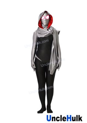 Grey SpiderGwen Printed Spandex Lycra Zentai Suit (with hood and cloak)