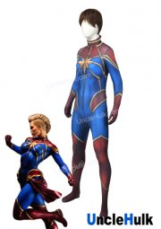 Captain Marvel Ms. Marvel Carol Danvers Red and Blue Spandex Cosplay Costume | UncleHulk